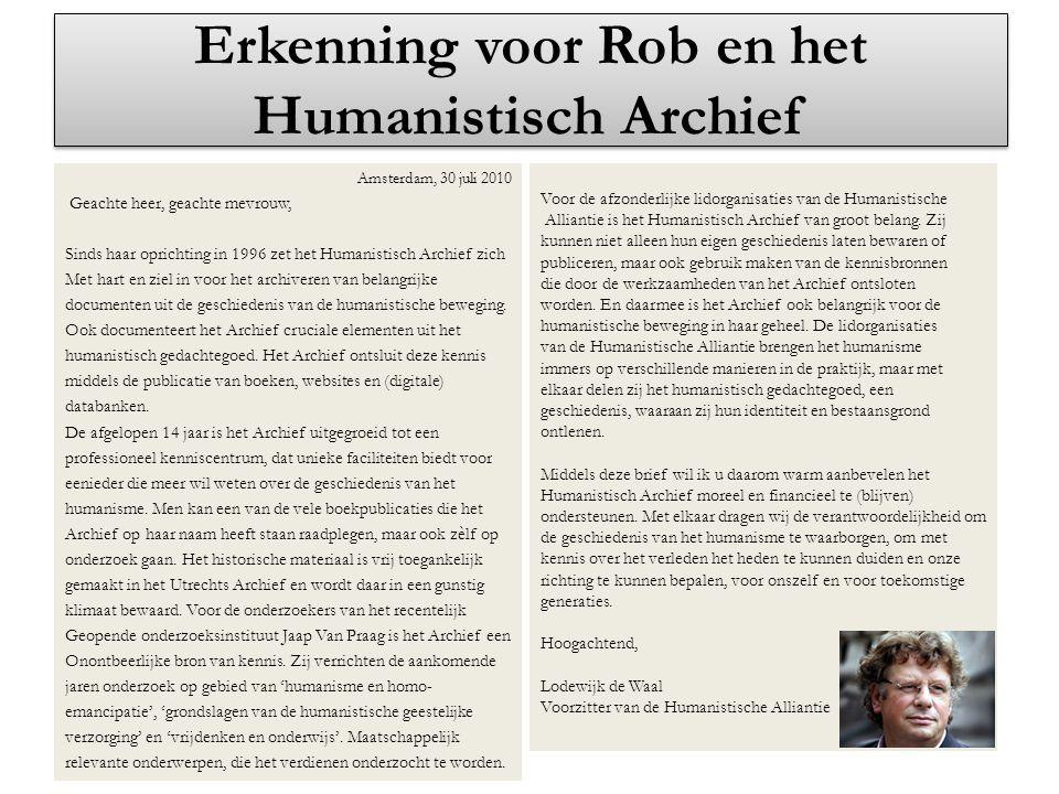 Erkenning voor Rob en het Humanistisch Archief
