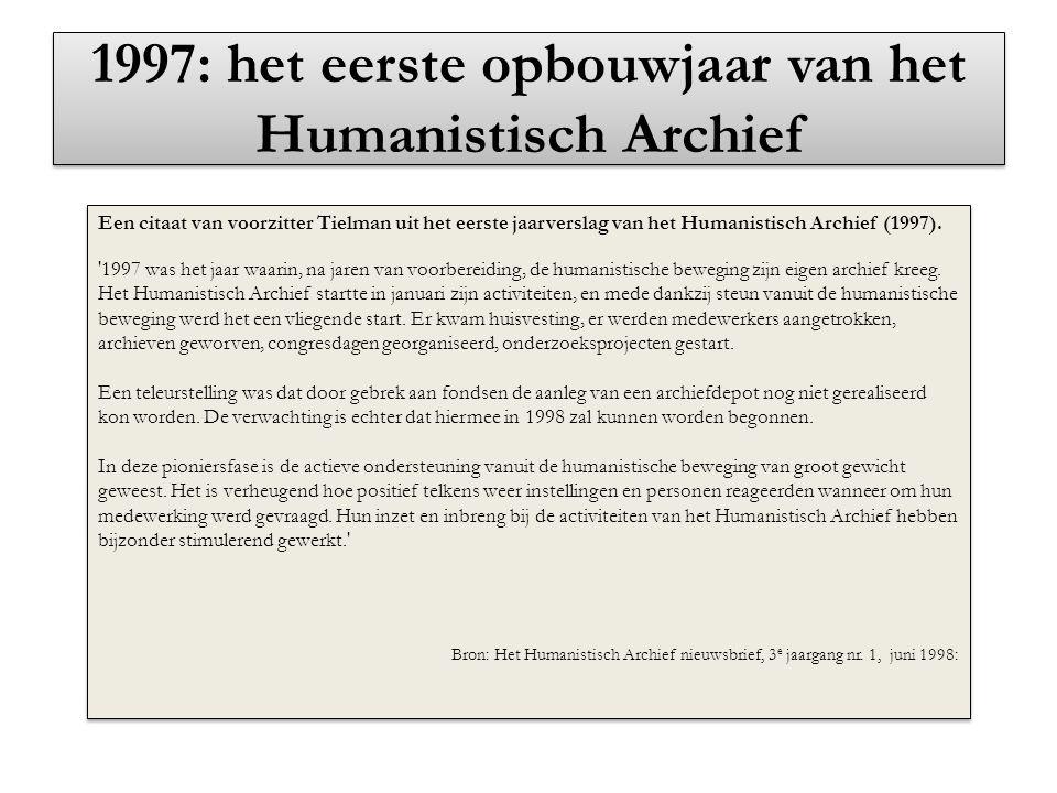 1997: het eerste opbouwjaar van het Humanistisch Archief