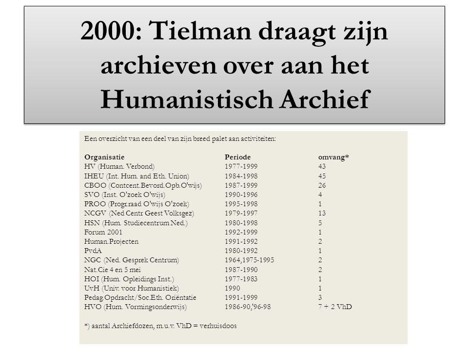2000: Tielman draagt zijn archieven over aan het Humanistisch Archief