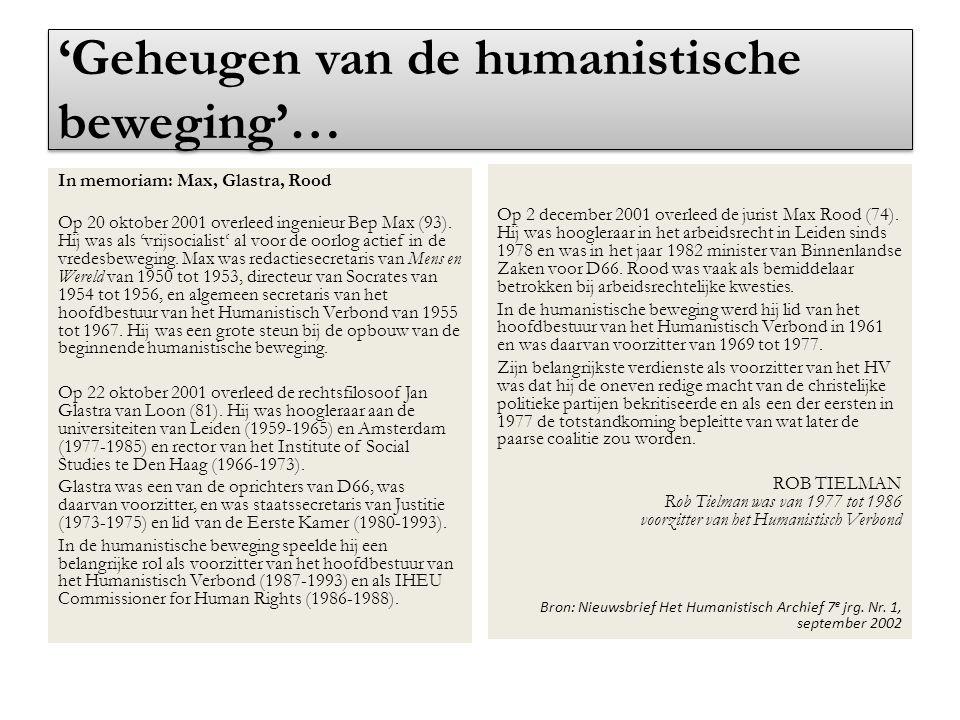 'Geheugen van de humanistische beweging'…