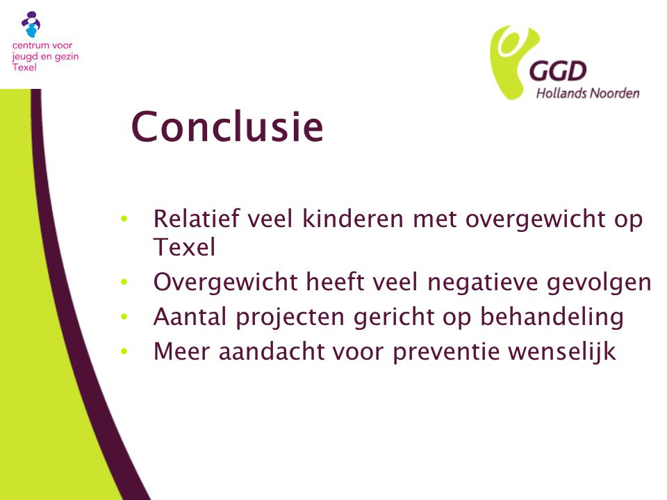 Conclusie Relatief veel kinderen met overgewicht op Texel