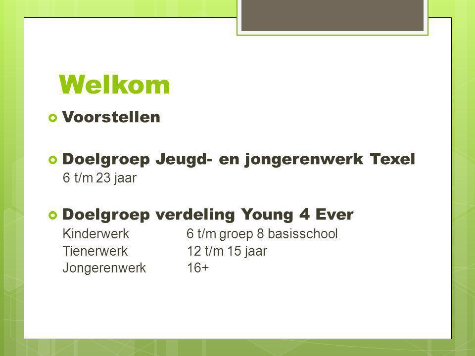 Welkom Voorstellen Doelgroep Jeugd- en jongerenwerk Texel