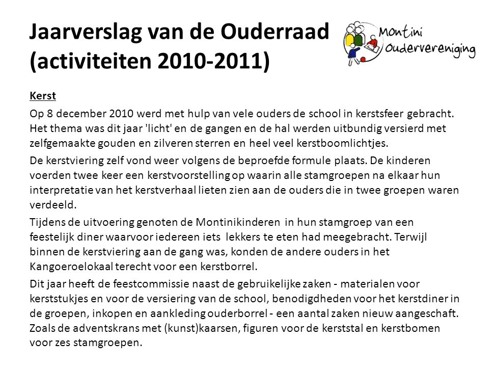 Jaarverslag van de Ouderraad (activiteiten 2010-2011)