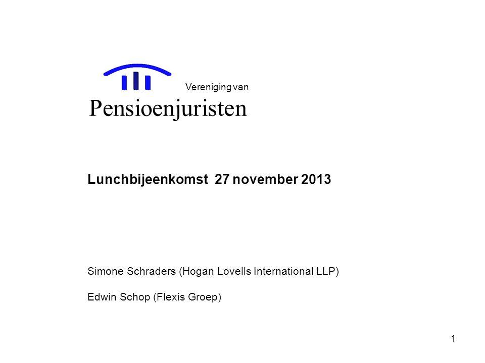 Pensioenjuristen Lunchbijeenkomst 27 november 2013