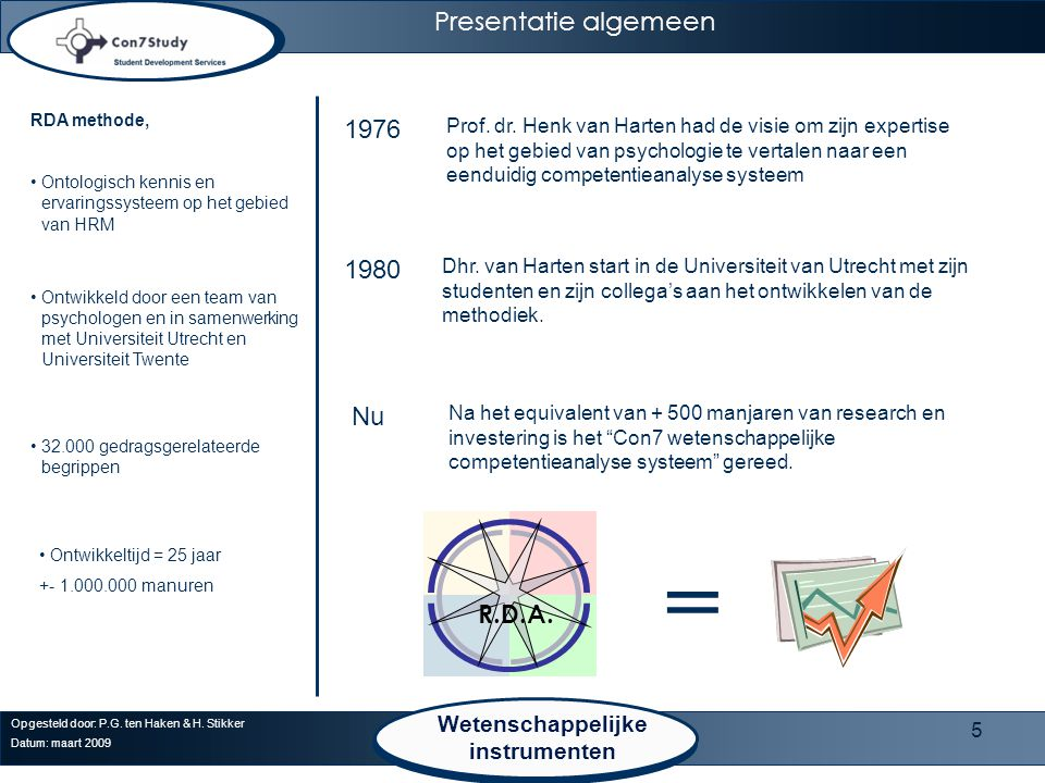 = Presentatie algemeen 1976 1980 Nu R.D.A. Wetenschappelijke