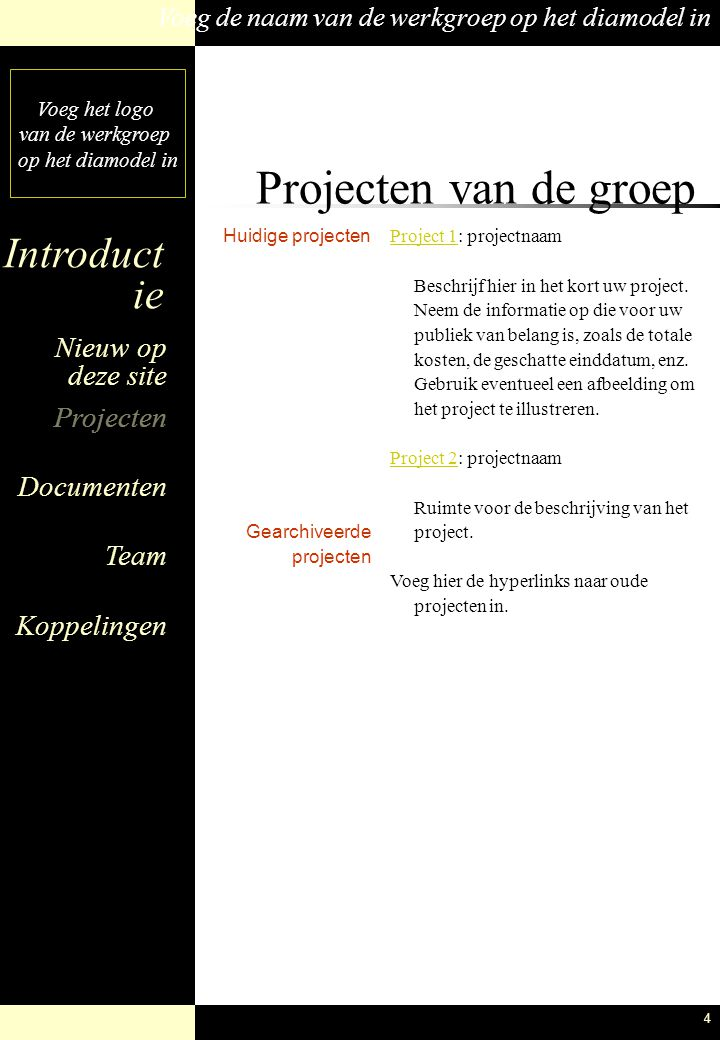Projecten van de groep Huidige projecten Gearchiveerde projecten