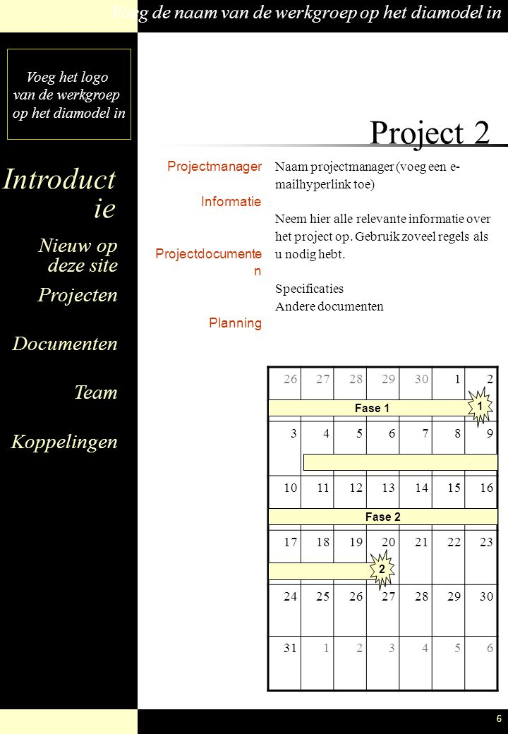 Project 2 Projectmanager Informatie Projectdocumenten Planning