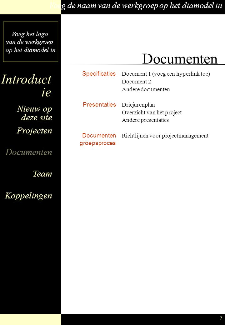 Documenten Specificaties Presentaties Documenten groepsproces