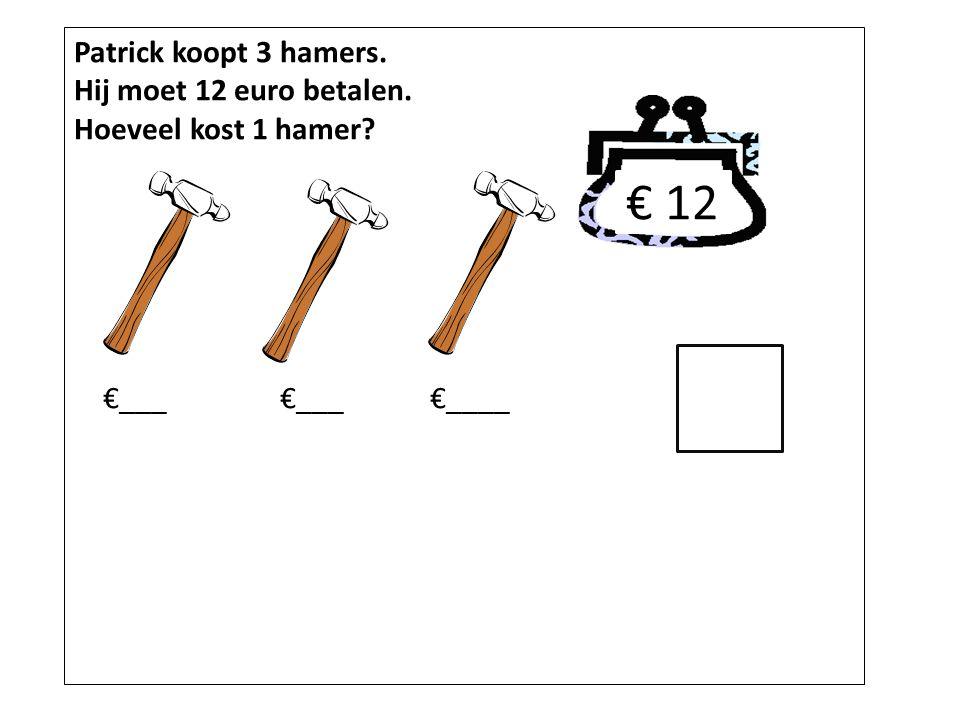 € 12 Patrick koopt 3 hamers. Hij moet 12 euro betalen.