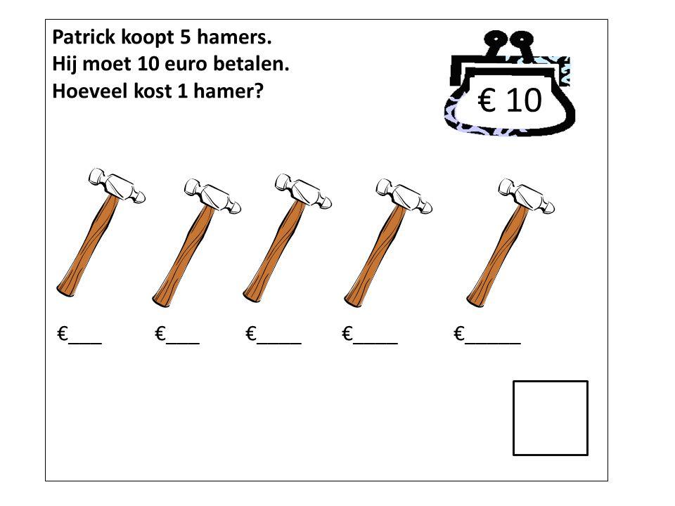 € 10 Patrick koopt 5 hamers. Hij moet 10 euro betalen.