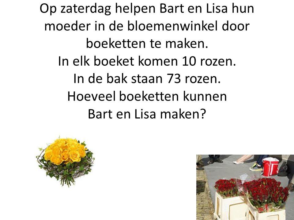 Op zaterdag helpen Bart en Lisa hun moeder in de bloemenwinkel door boeketten te maken.