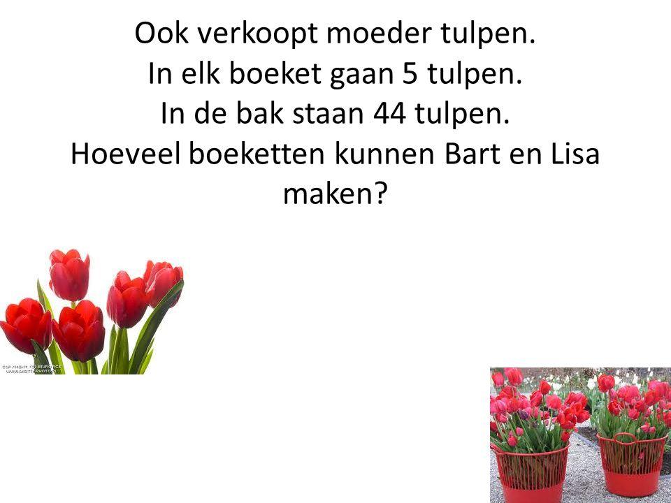 Ook verkoopt moeder tulpen. In elk boeket gaan 5 tulpen
