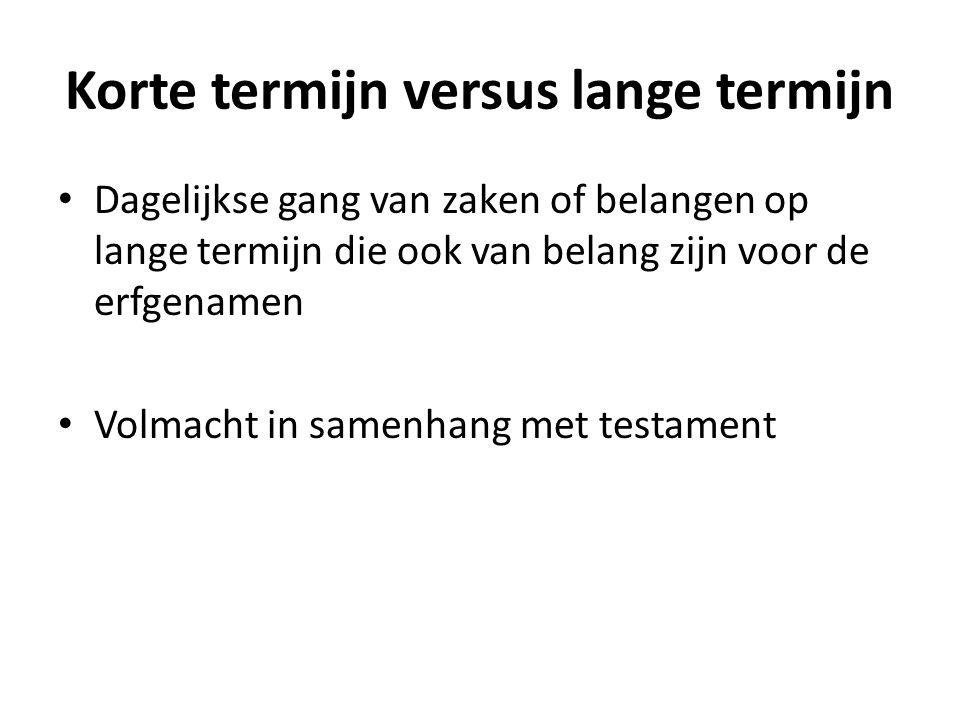 Korte termijn versus lange termijn