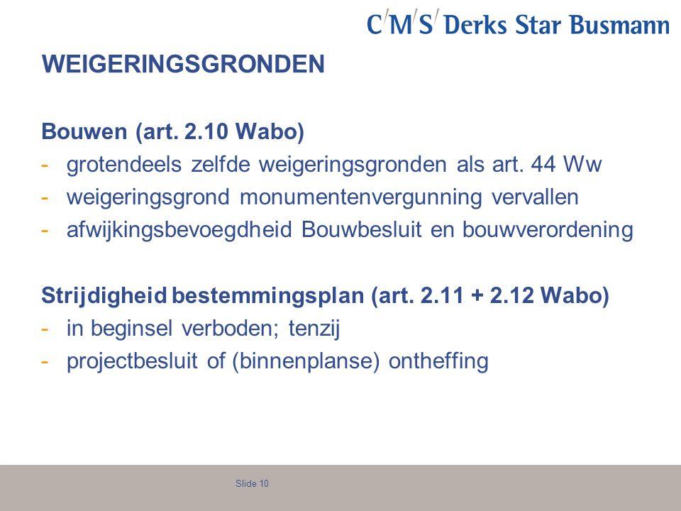 WEIGERINGSGRONDEN Bouwen (art. 2.10 Wabo)