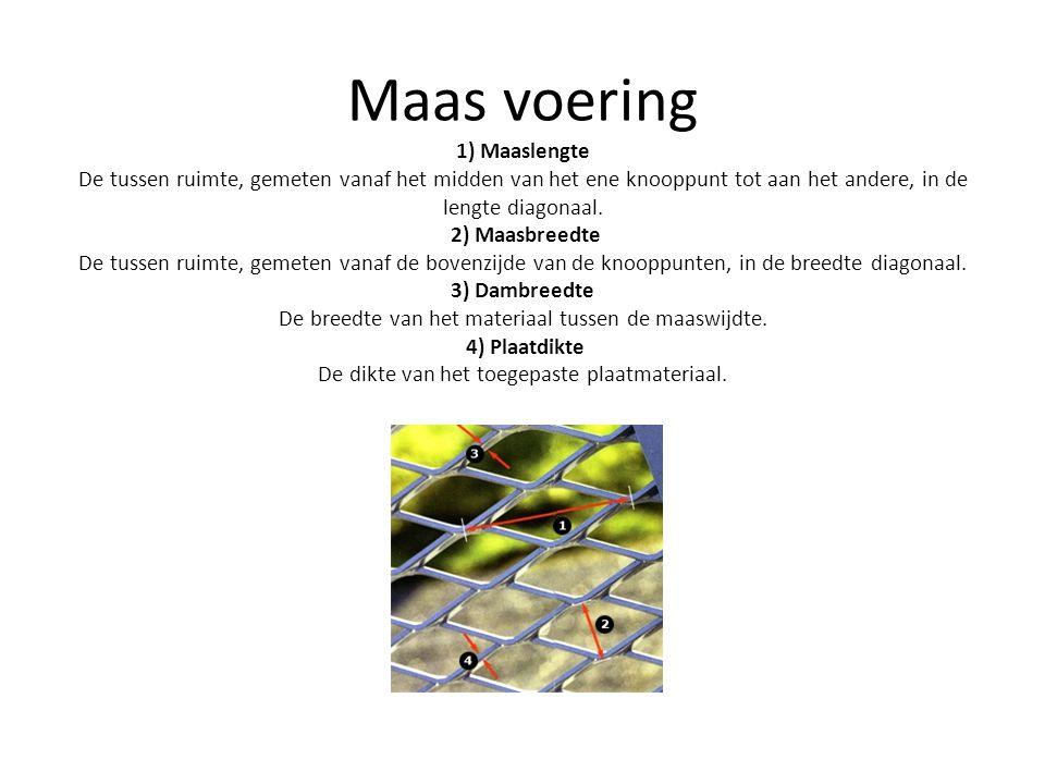 Maas voering 1) Maaslengte De tussen ruimte, gemeten vanaf het midden van het ene knooppunt tot aan het andere, in de lengte diagonaal.