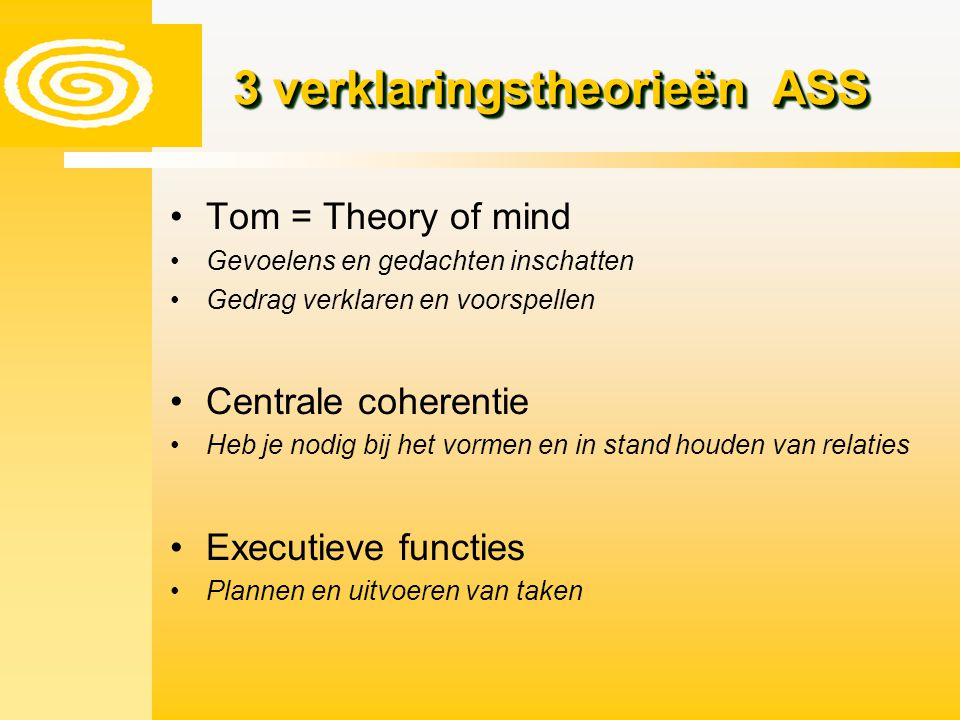 3 verklaringstheorieën ASS