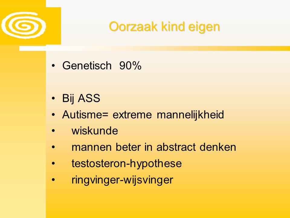 Oorzaak kind eigen Genetisch 90% Bij ASS