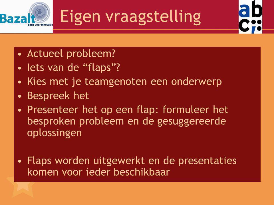 Eigen vraagstelling Actueel probleem Iets van de flaps