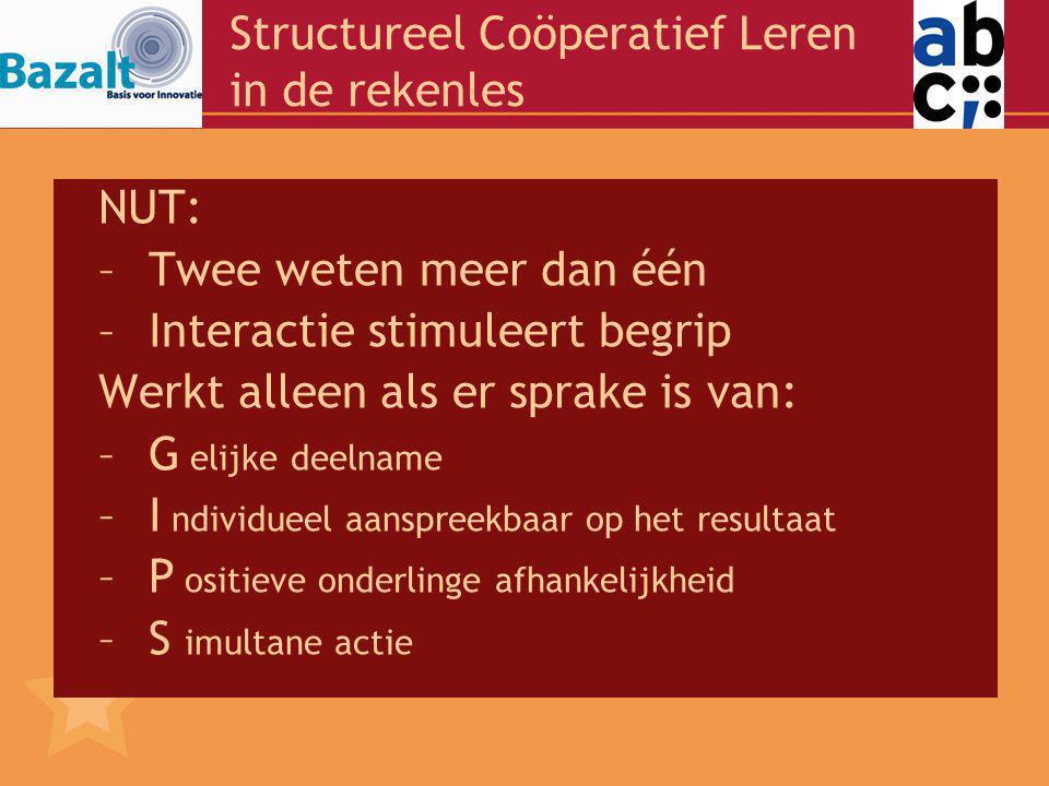 Structureel Coöperatief Leren in de rekenles