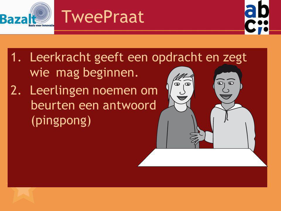 TweePraat Leerkracht geeft een opdracht en zegt wie mag beginnen.