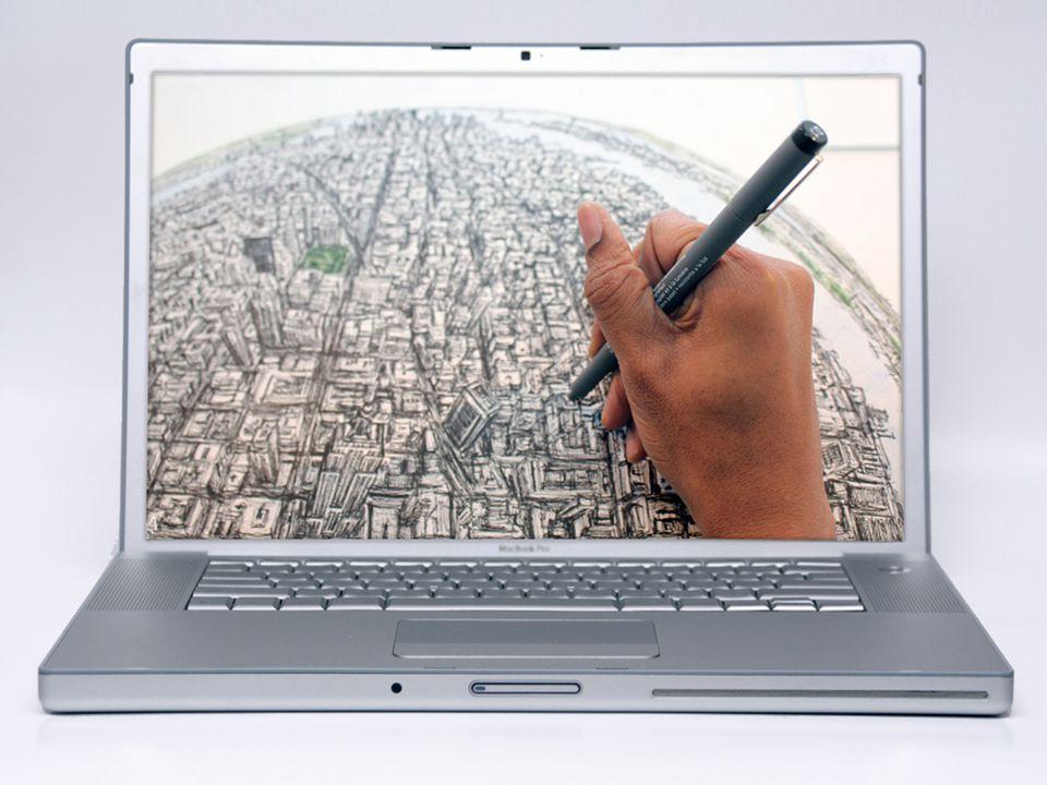 Dit voelt wel ruimtelijk (lagen, 'echt' = hand en 'nep' = tekening/perspectief, scherp/vaag). Stel dat de tekening leeft. Dat het een bewegende wereld is (animatie). Ervaring/gebruiker.