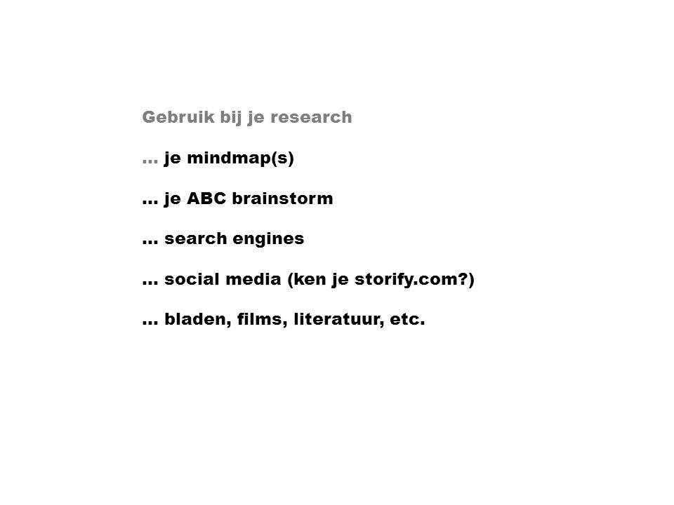 Gebruik bij je research … je mindmap(s) … je ABC brainstorm