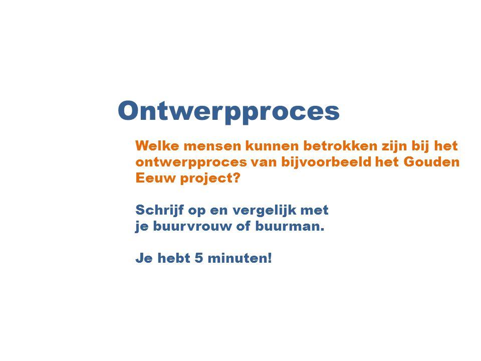 Ontwerpproces Welke mensen kunnen betrokken zijn bij het ontwerpproces van bijvoorbeeld het Gouden Eeuw project