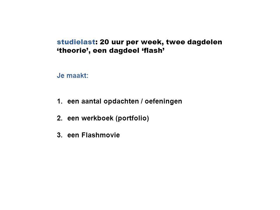studielast: 20 uur per week, twee dagdelen 'theorie', een dagdeel 'flash'