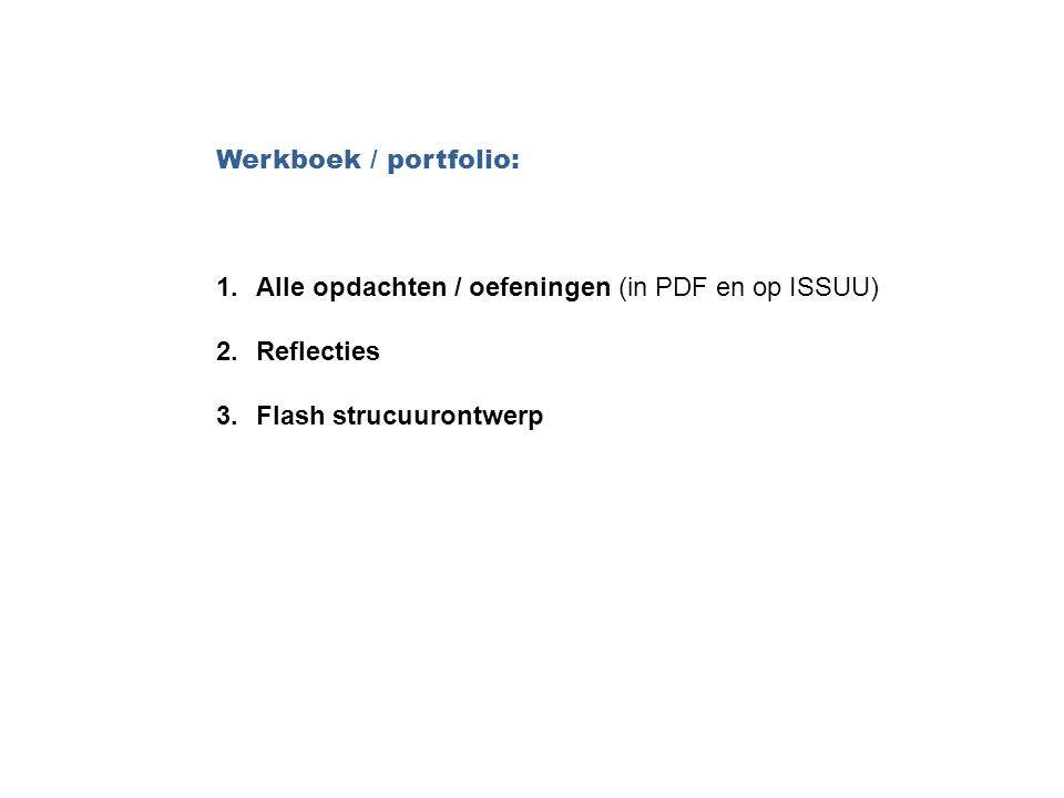 Werkboek / portfolio: Alle opdachten / oefeningen (in PDF en op ISSUU) Reflecties.