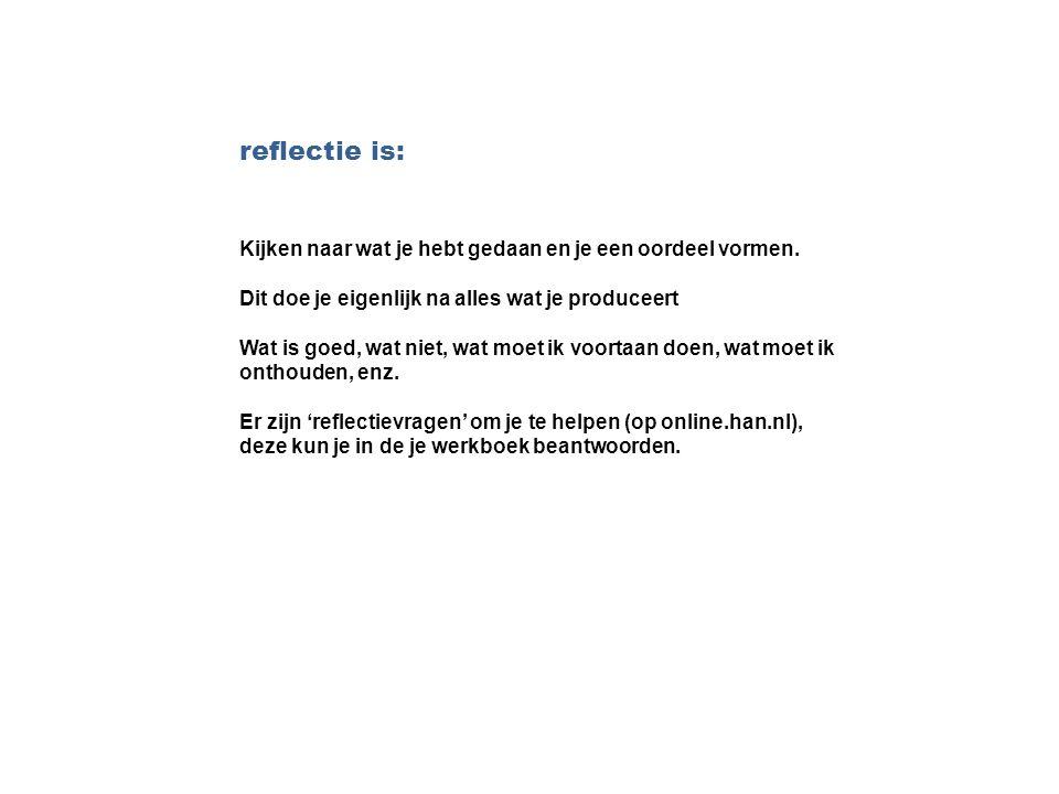 reflectie is: Kijken naar wat je hebt gedaan en je een oordeel vormen.