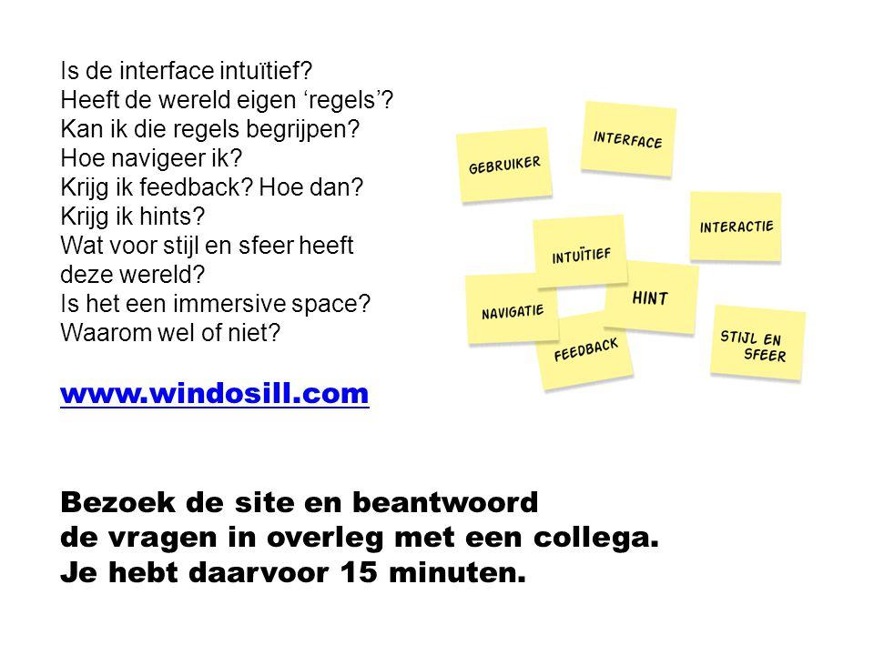 Bezoek de site en beantwoord de vragen in overleg met een collega.