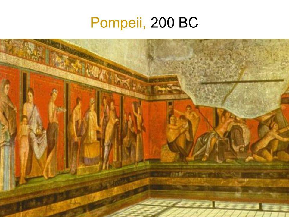 Pompeii, 200 BC Figuren op tegenoverliggende wanden communiceren met elkaar, je staat er dan tussenin.