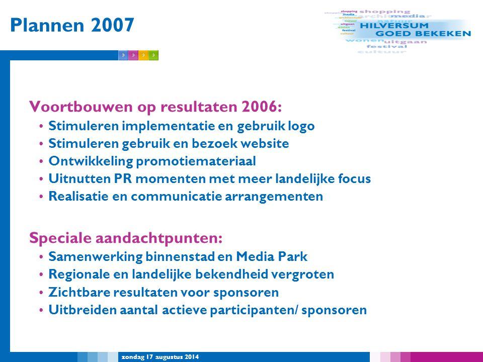 Plannen 2007 Voortbouwen op resultaten 2006: Speciale aandachtpunten: