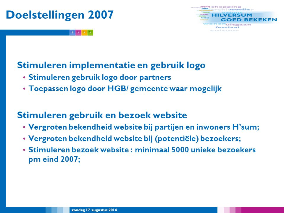 Doelstellingen 2007 Stimuleren implementatie en gebruik logo