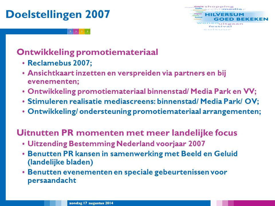 Doelstellingen 2007 Ontwikkeling promotiemateriaal