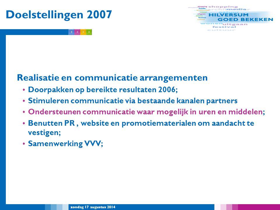 Doelstellingen 2007 Realisatie en communicatie arrangementen
