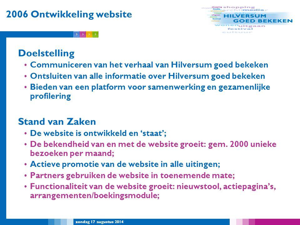 2006 Ontwikkeling website Doelstelling Stand van Zaken