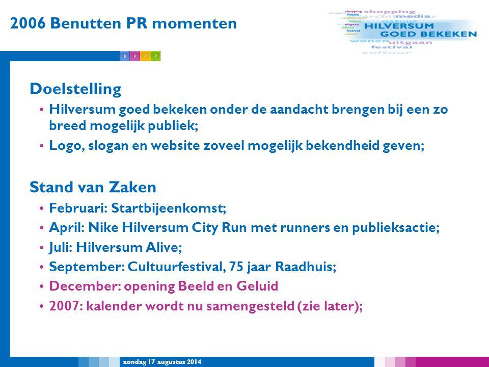 2006 Benutten PR momenten Doelstelling Stand van Zaken