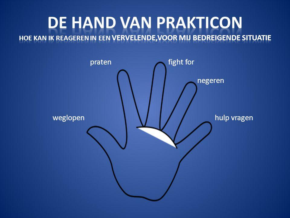 De hand van prakticon Hoe kan ik reageren in een vervelende,voor mij bedreigende situatie