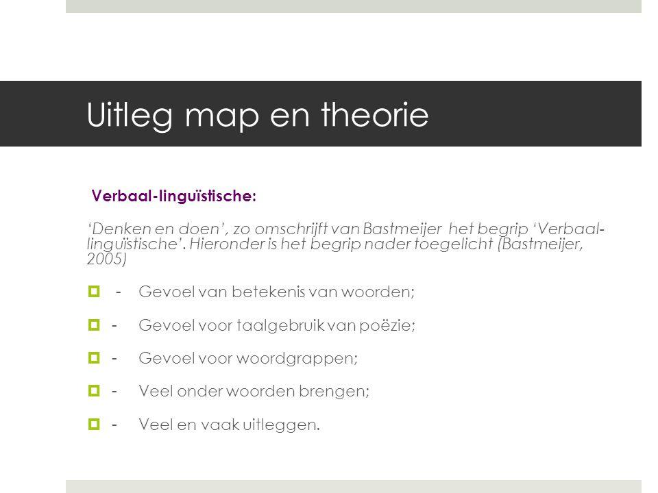 Uitleg map en theorie Verbaal-linguïstische: