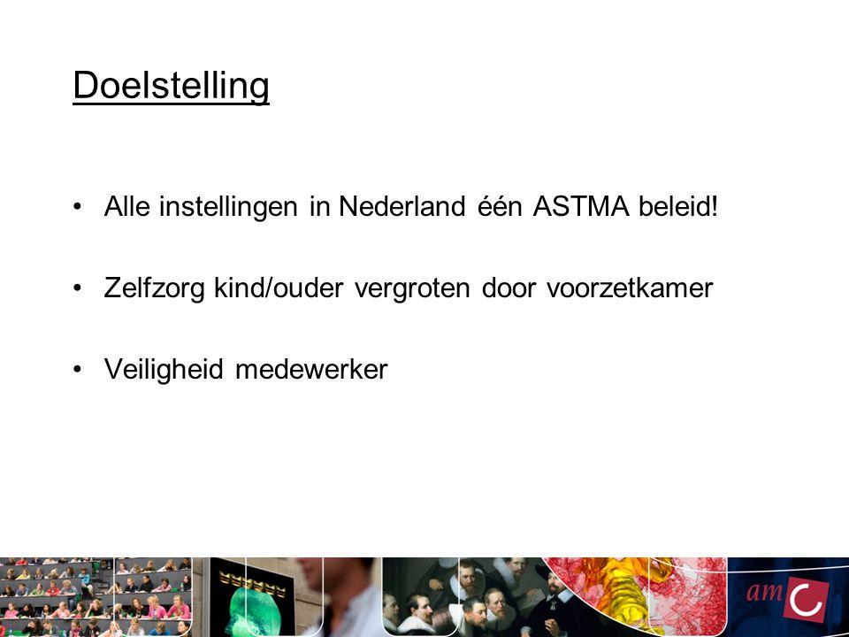Doelstelling Alle instellingen in Nederland één ASTMA beleid!
