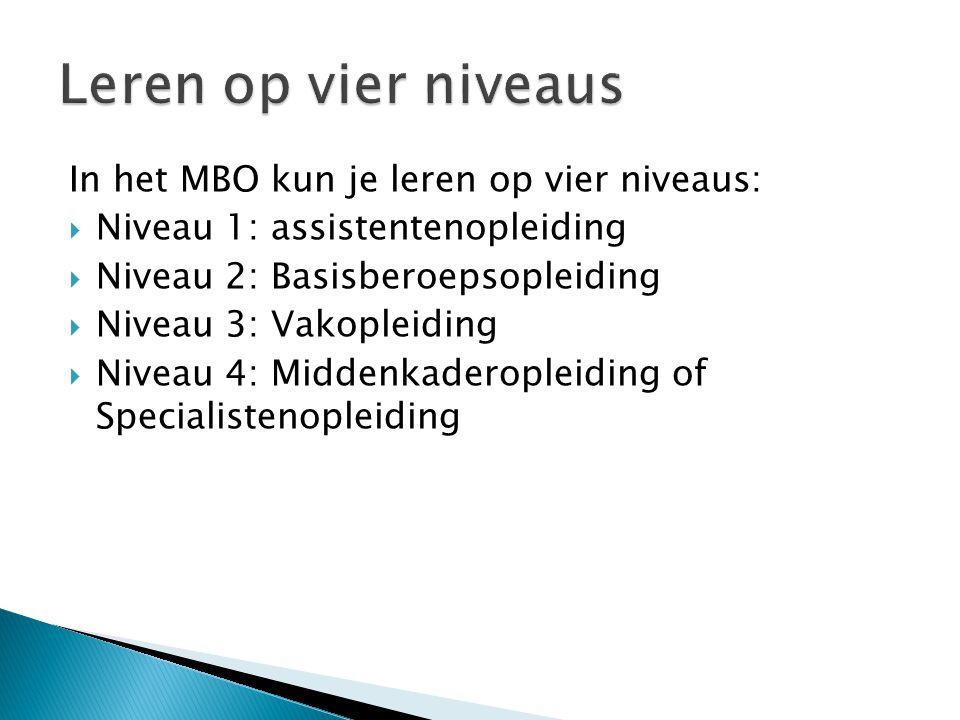 Leren op vier niveaus In het MBO kun je leren op vier niveaus: