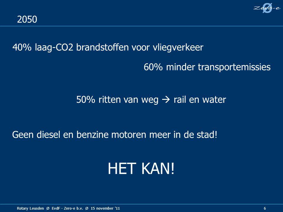 HET KAN! 2050 40% laag-CO2 brandstoffen voor vliegverkeer