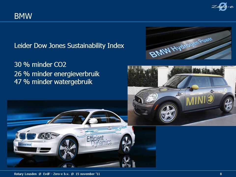 BMW Leider Dow Jones Sustainability Index 30 % minder CO2