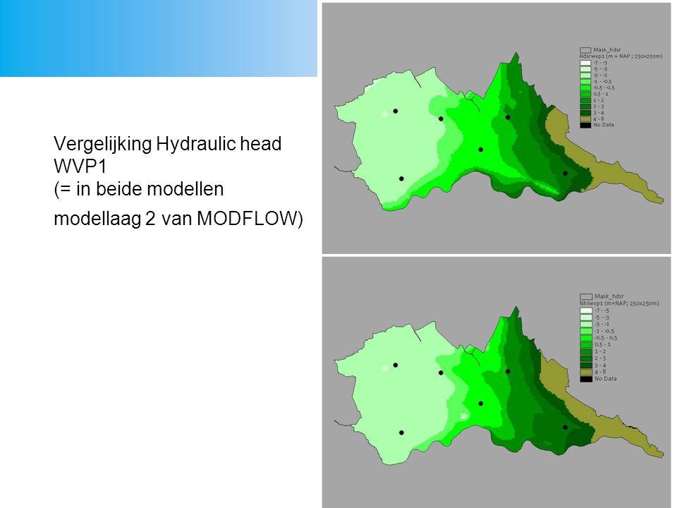 Vergelijking Hydraulic head WVP1 (= in beide modellen modellaag 2 van MODFLOW)