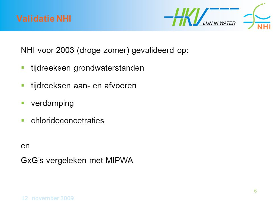 Validatie NHI NHI voor 2003 (droge zomer) gevalideerd op: