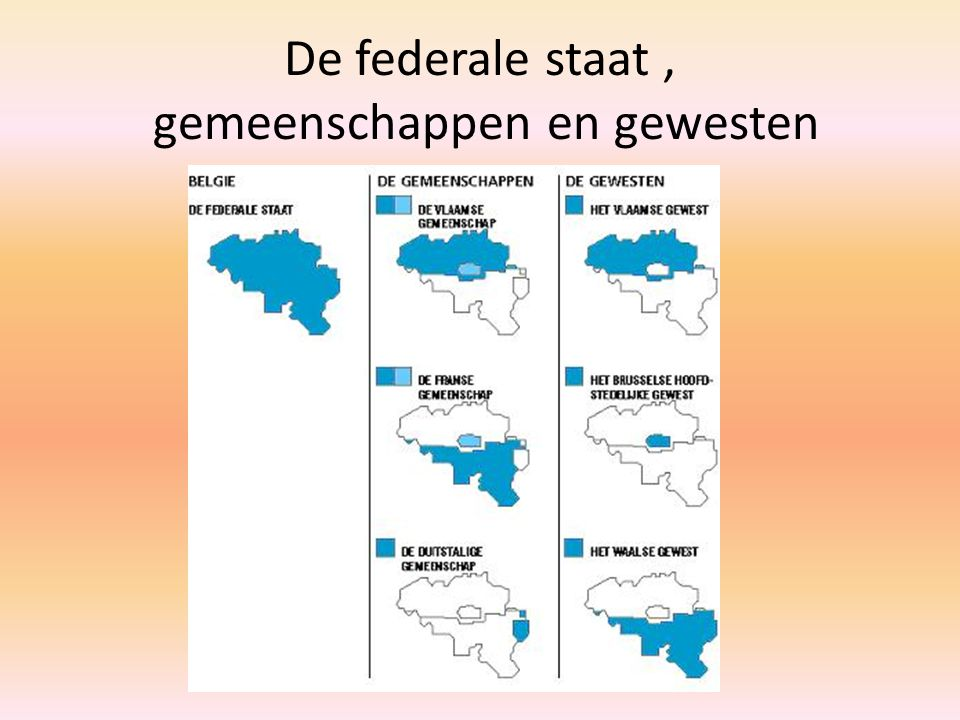 De federale staat , gemeenschappen en gewesten