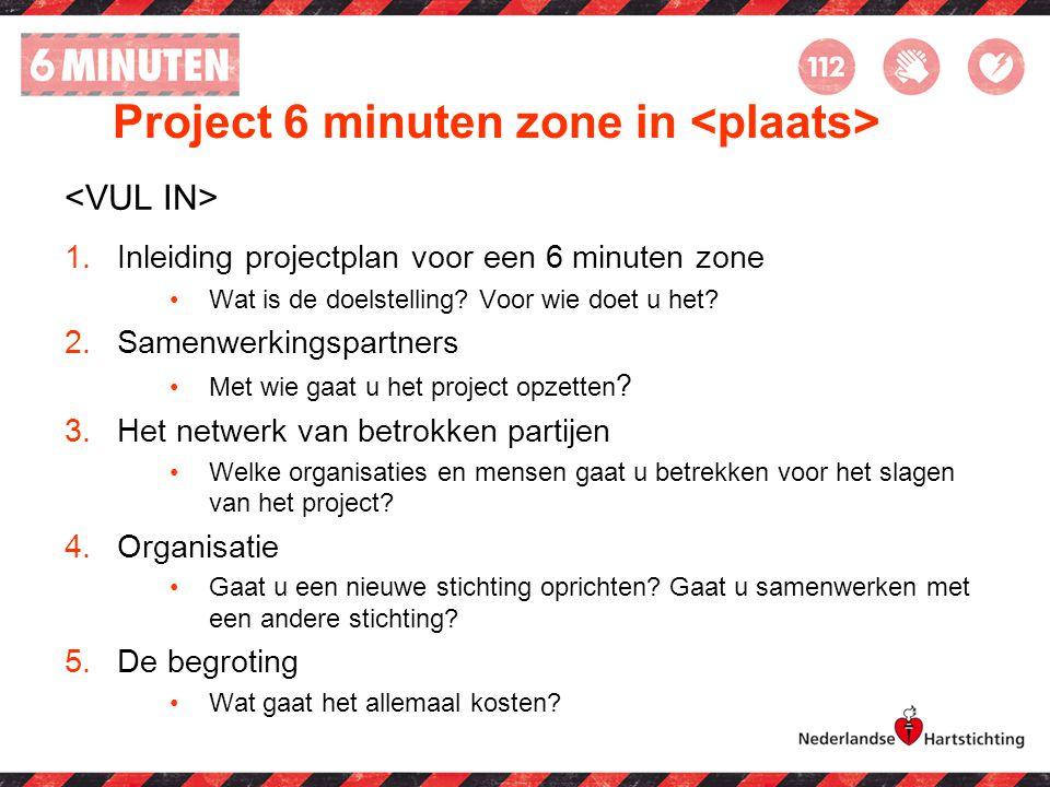 Project 6 minuten zone in <plaats>