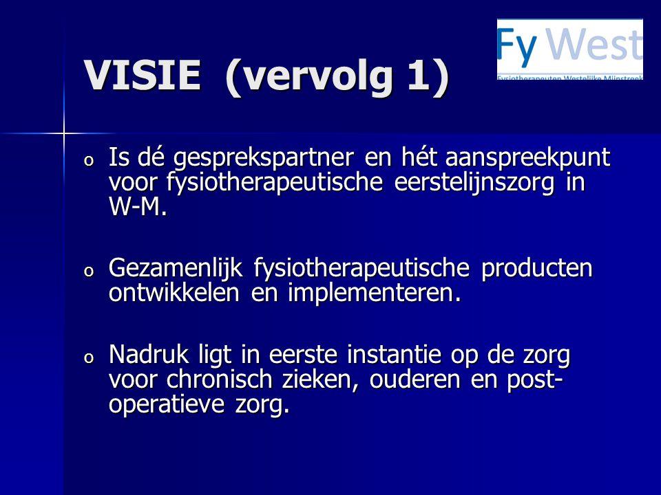 VISIE (vervolg 1) Is dé gesprekspartner en hét aanspreekpunt voor fysiotherapeutische eerstelijnszorg in W-M.