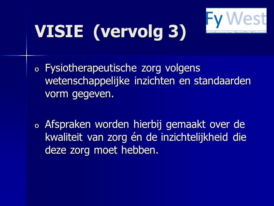 VISIE (vervolg 3) Fysiotherapeutische zorg volgens wetenschappelijke inzichten en standaarden vorm gegeven.